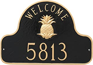 "product image for Montague Metal Pineapple Welcome Arch Address Sign Plaque, 11"" x 16"", Hunter Green/Gold"