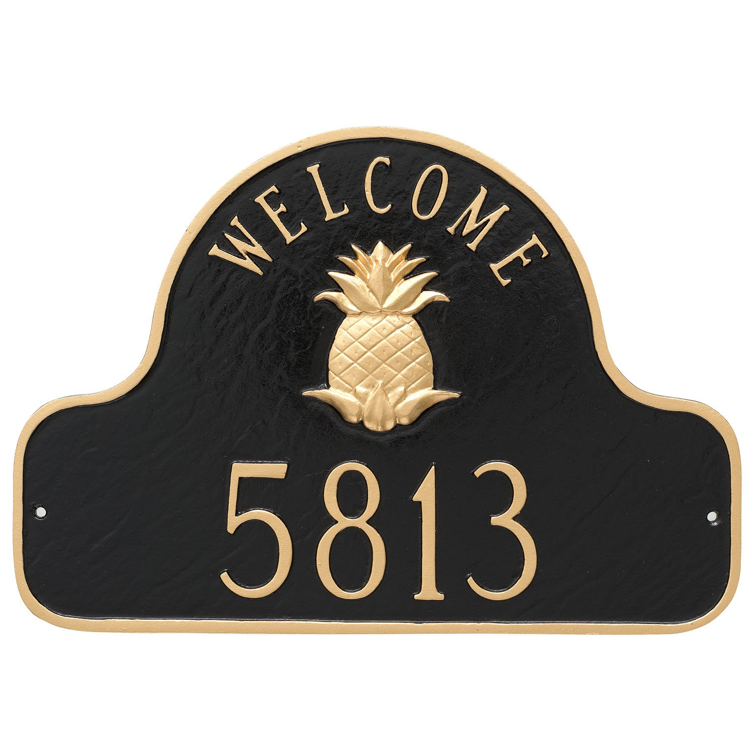 Montague Metal Pineapple Welcome Arch Address Sign Plaque, 11'' x 16'', Black/Gold
