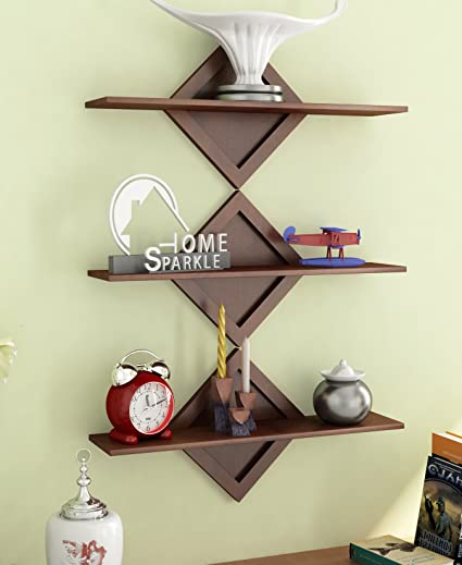 Home Sparkle Engineered Wood Shelf Set (46 cm x 14 cm x 25 cm, Brown, Set of 3)