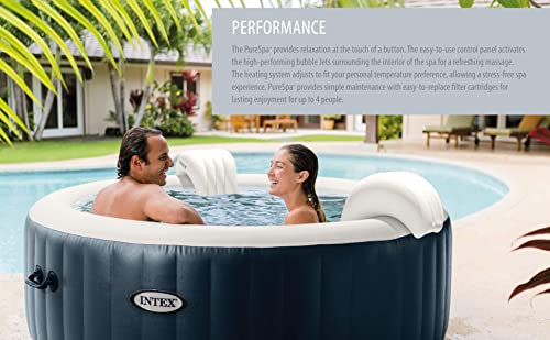 Intex 28431E PureSpa Plus 85in x 28in Outdoor Portable Inflatable 6 Person Round Hot Tub Spa