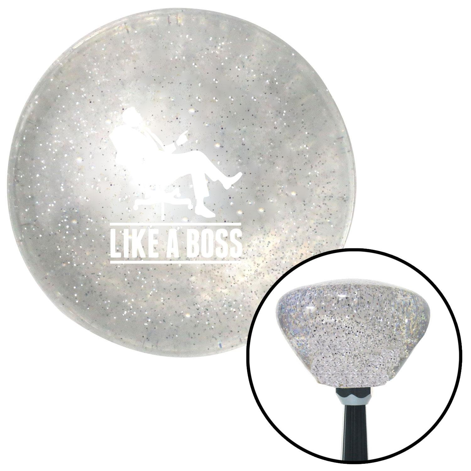 American Shifter 167281 Clear Retro Metal Flake Shift Knob with M16 x 1.5 Insert White Like A Boss
