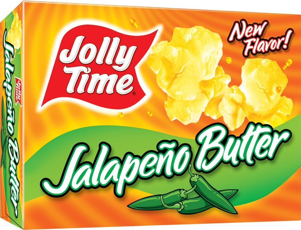 Jolly Time Butter Spicy Microwave Popcorn, Jalapeno Butter, 3-Count Boxes (Pack of 3)