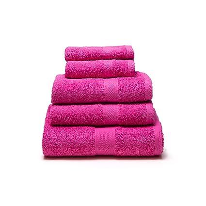 Sancarlos - Juego de 5 toallas YANAI, 100% Algodón, Color Fucsia