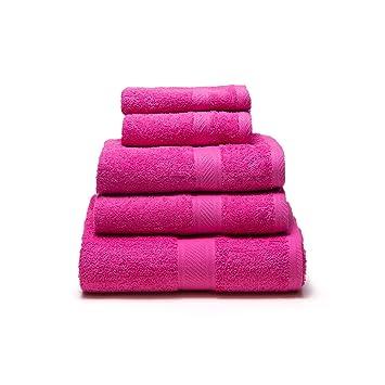 Sancarlos - Juego de 5 toallas YANAI, 100% Algodón, Color Fucsia: Amazon.es: Hogar