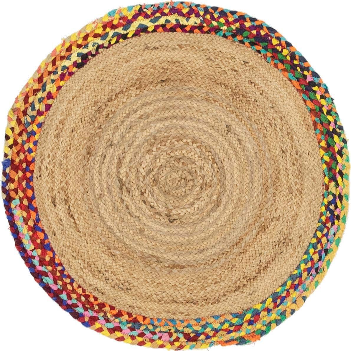 Jaipurtextilehub Alfombra Trenzada de algodón de Yute