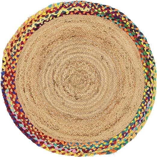 Jaipurtextilehub - Alfombra Trenzada de algodón de Yute Mixto, 240x240 cm: Amazon.es: Hogar