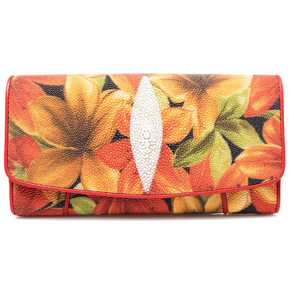 Genuine Stingray Skin Leather Summer Floral Trifold Coin Card Wallet Clutch Purse