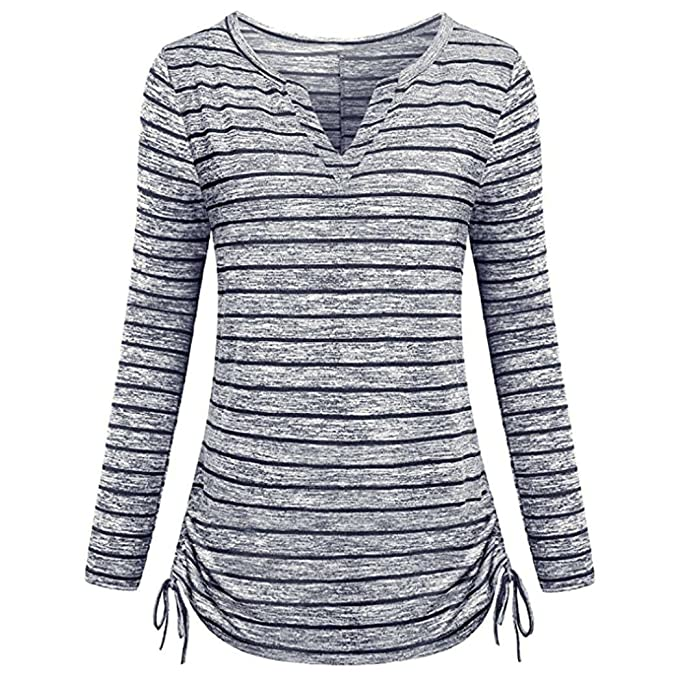 T-Shirt by BaZhaHei, Camiseta de Mujer con Estampado de Rayas a Rayas Camiseta