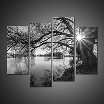 Gray black modern abstract contemporary artwork canvas painting wall art picture black and white tree silhouette