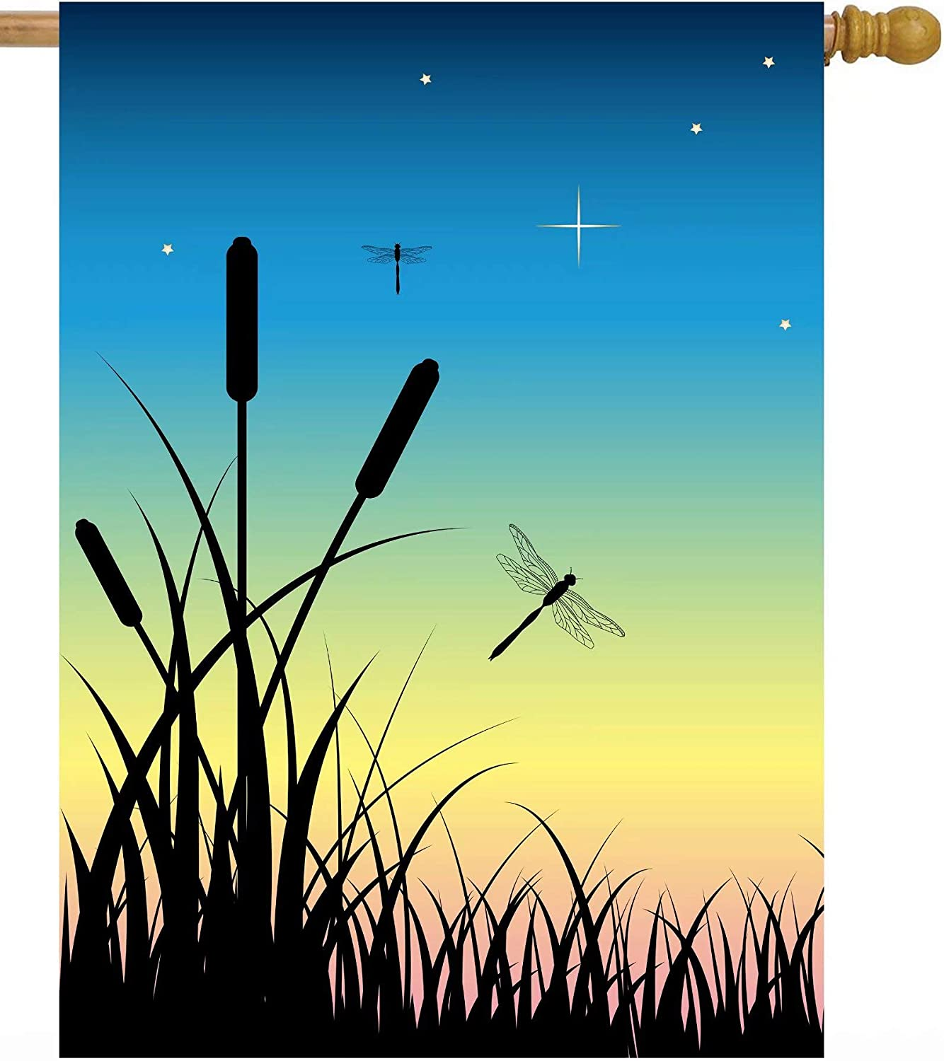 Pickako Summer Spring Scenery Dragonfly Night Sunset Over The Swamp House Flag 28 x 40 Inch, Double Sided Large Garden Yard Welcome Flags Banners for Home Lawn Patio Outdoor Decor