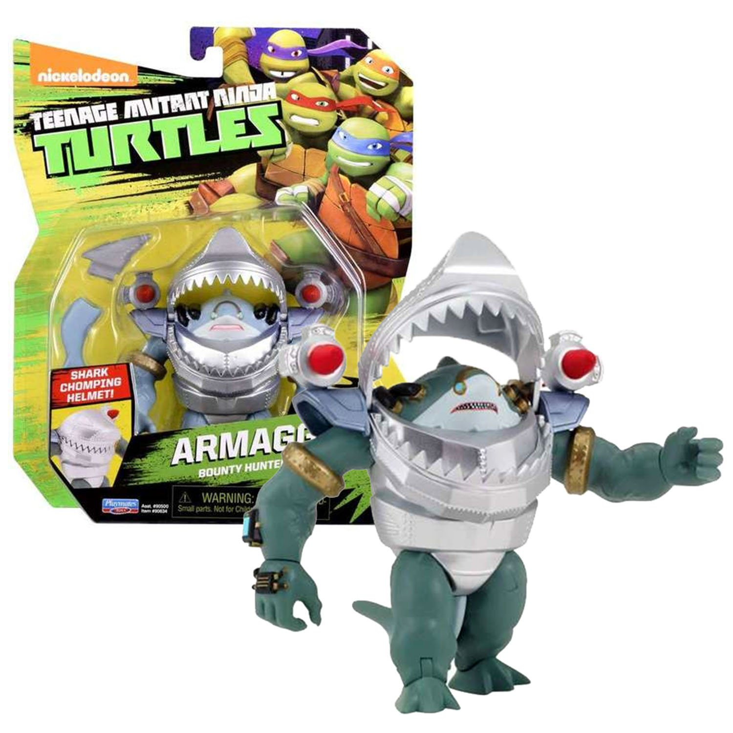 Playmates Year 2016 Nickelodeon Teenage Mutant Ninja Turtles 4 Inch Tall Action Figure - Bounty Hunter Space Shark ARMAGGON with Removable Tail & Fin