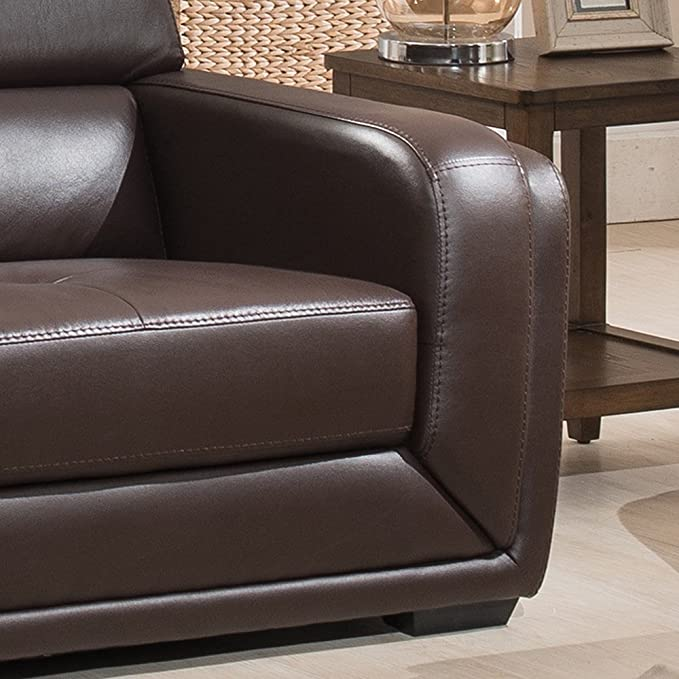 Amazon.com: AC Pacific Christies Home Living Calvin Brown Modern Leather  Living Room Sofa: Kitchen U0026 Dining