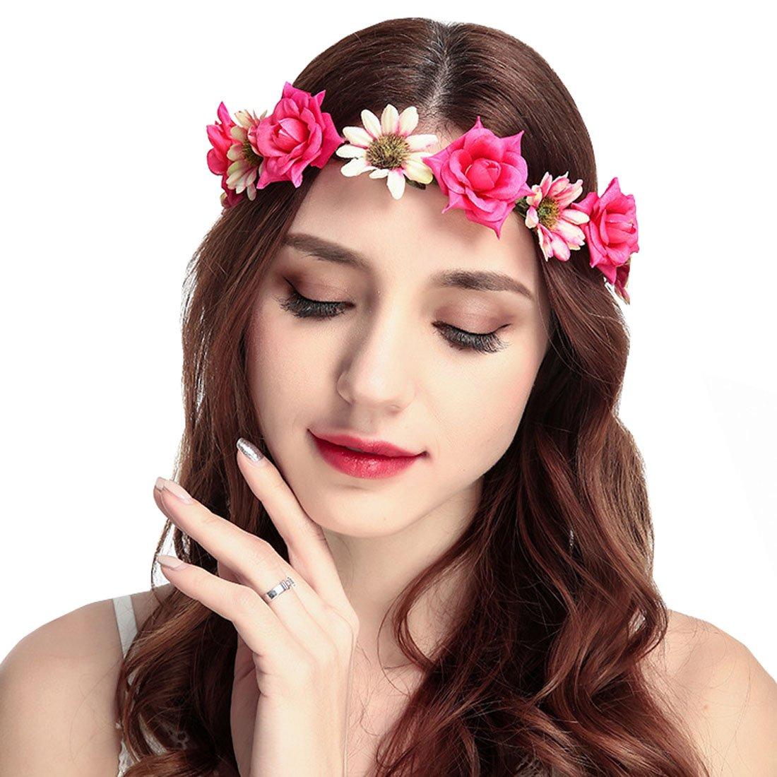June Bloomy Rose Daisy Flower Headband Bohemia Floral Crown Headwear