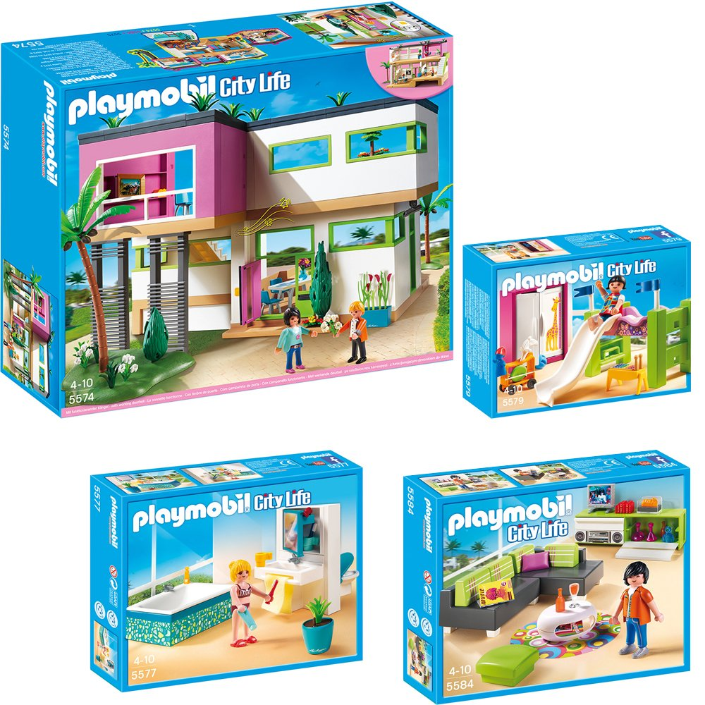 playmobil modernes wohnzimmer : Playmobil City Life 4 Teiliges Set 5574 Moderne Luxusvilla 5577