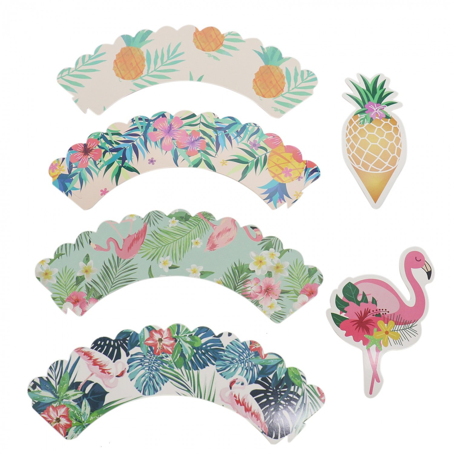 Buorsa Set of 36 Cupcake Toppers Wrappers Flamingo/Pineapple Cake Decoration Tropical Hawaiian Pool Party Supplies by Buorsa