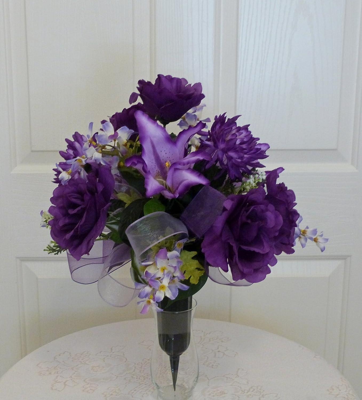 Home Kitchen Cemetery Flowers In Vase Purple Rose Cemetery Vase Purple Cemetery Arrangement Handmade Products Portohigiene Pt