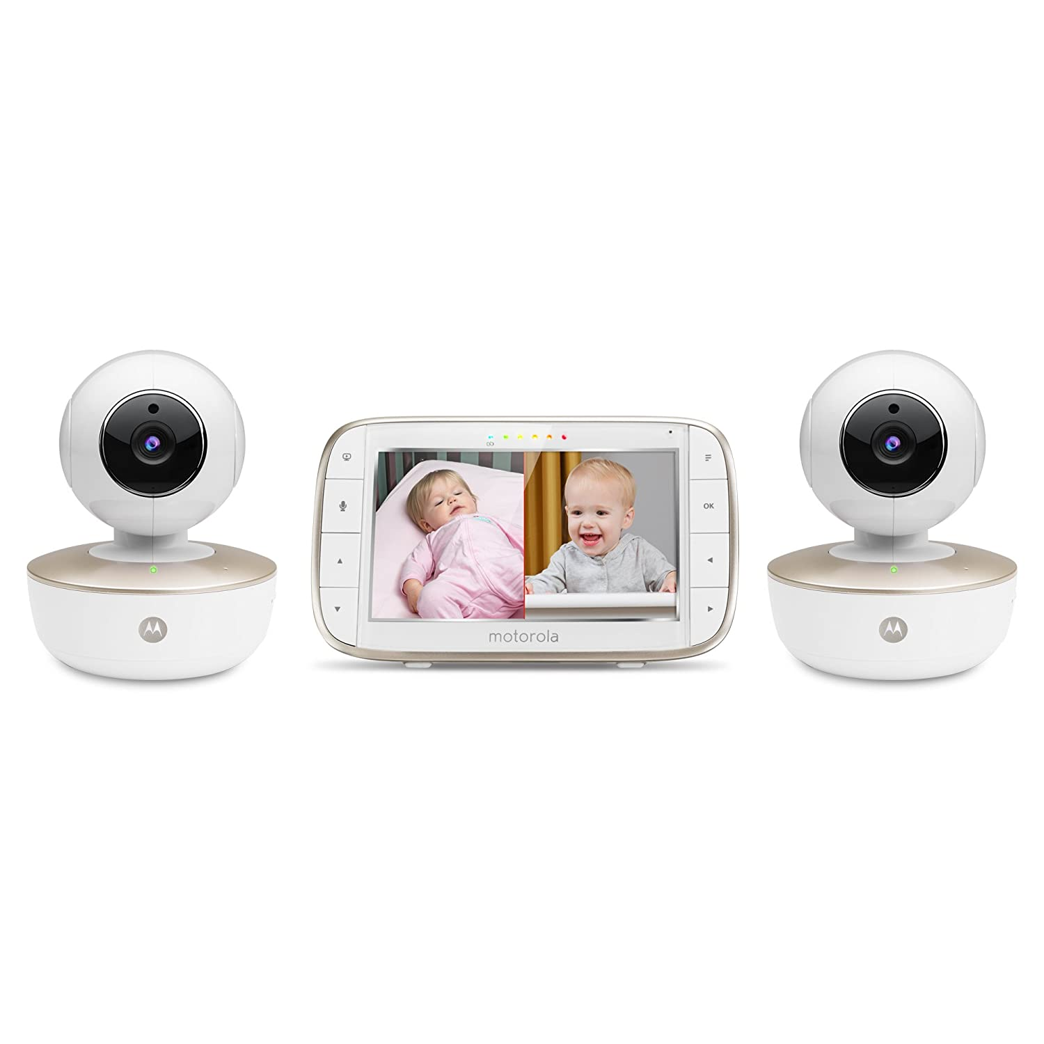 """Motorola MBP855CONNECT-2 Portable 5"""" Video Baby Monitor with Wi-Fi Viewing, 2 Rechargeable Cameras, Remote Pan, Tilt, Zoom, Two-Way Audio, and Room Temperature Display"""