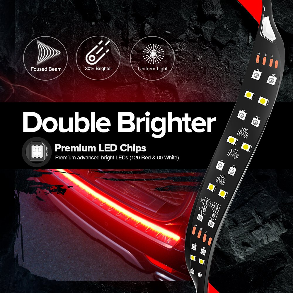 Amazon.com: MICTUNING 60 Inch 2-Row LED Truck Tailgate Light Bar Strip  Red/White Reverse Stop Turn Signal Running for SUV RV Trailer: Automotive