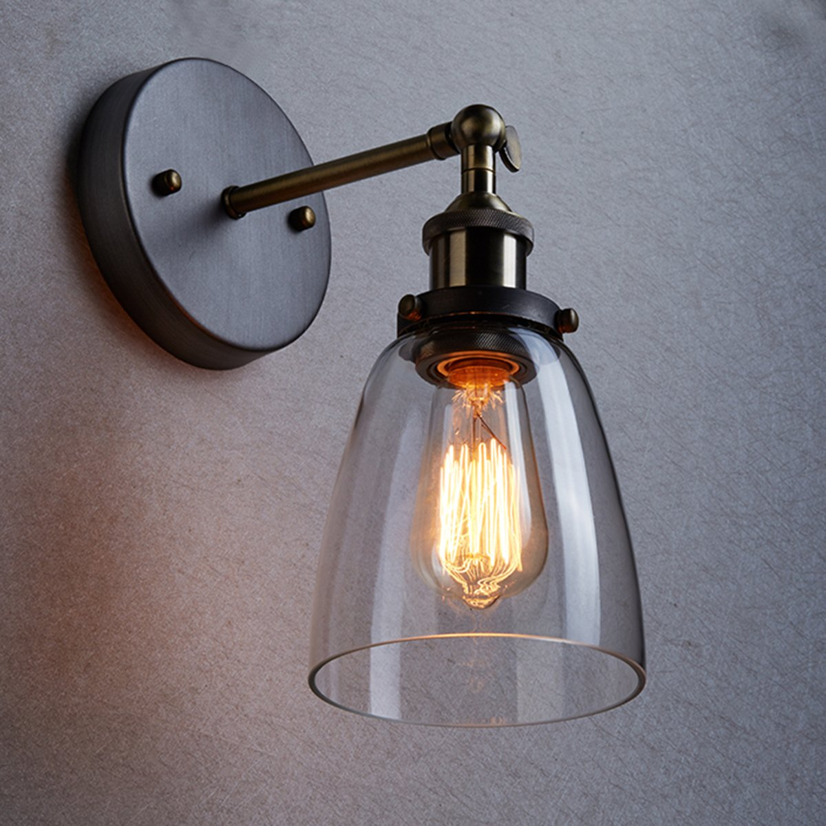 CLAXY Ecopower Industrial Edison Old Fashion Simplicity Glass Wall Sconce  Metal Base Cap     Amazon.com