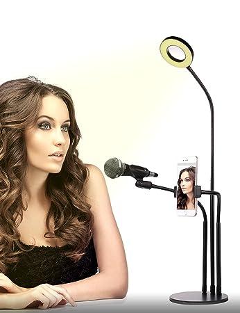 10-Level Brightness Selfie Ring Light Stand w// Cell Phone Holder and Microphone Holder Flexible for Live Stream YouTube Video Makeup, 3-Light Mode Socialite Ring Light