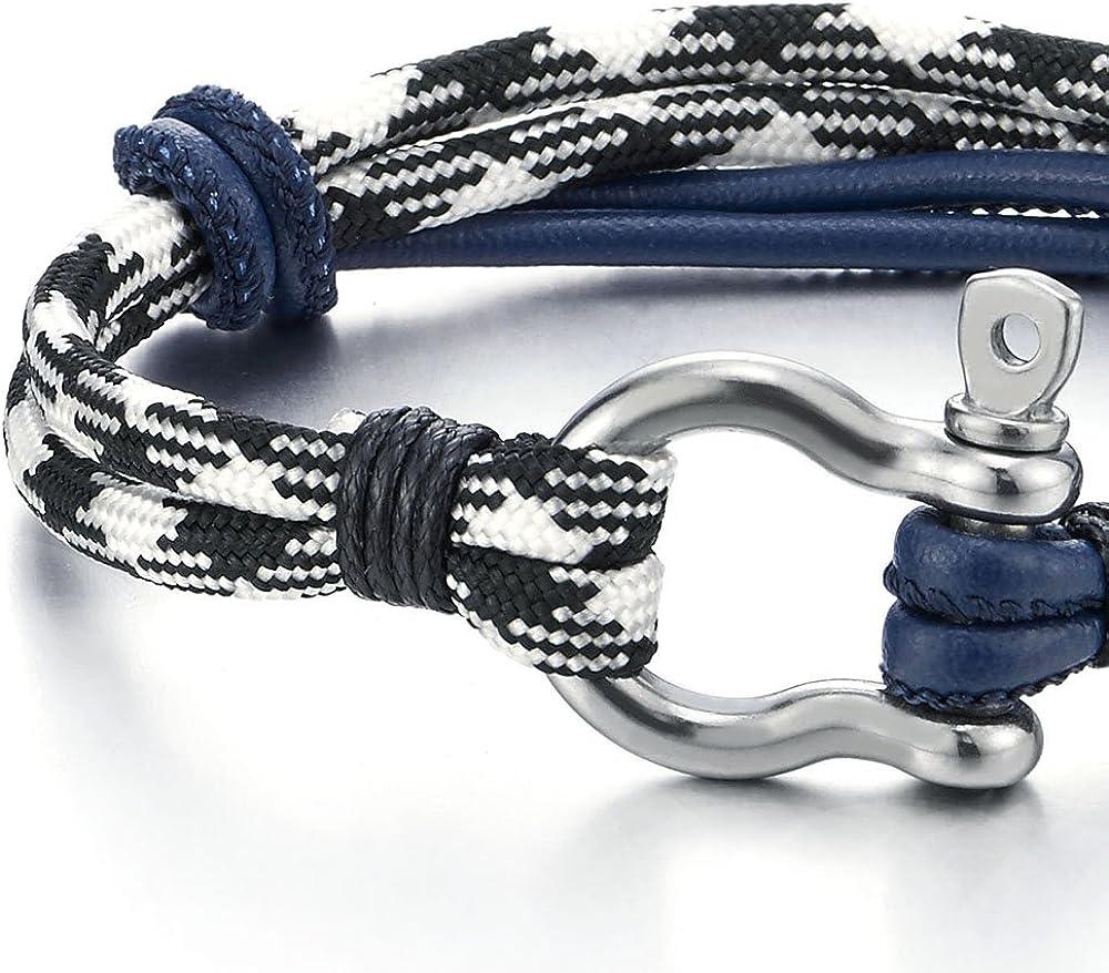 COOLSTEELANDBEYOND Acier Bracelet Vis Manilles dancrage Cuir sur Cordon Nautique Marin Envelopper Bracelet Homme Femme