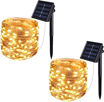 2 Pack 100 LED Solar Fairy Lights 33 ft Copper Wire Lights Waterproof Outdoor