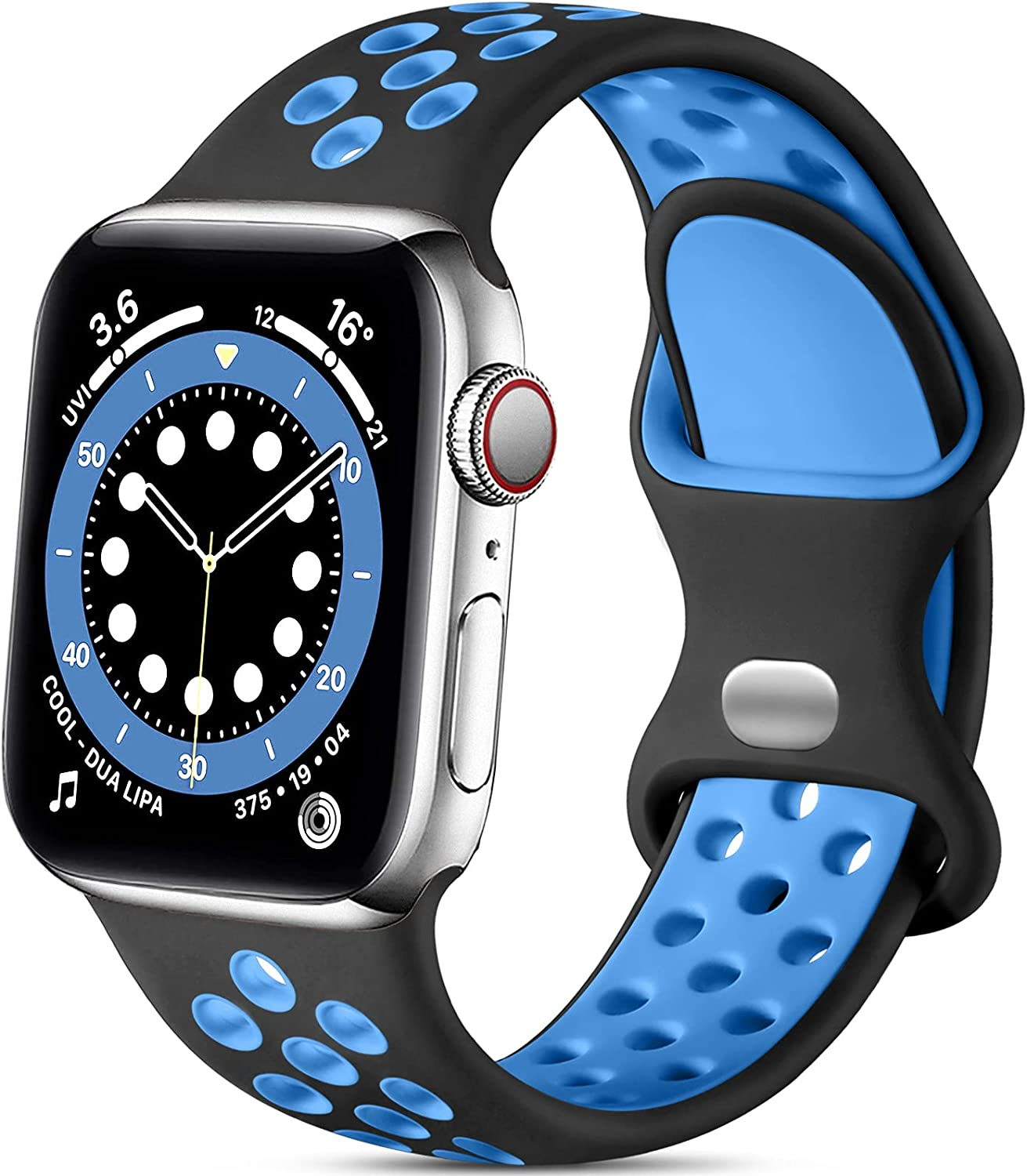 Lerobo Bands Compatible with Apple Watch Band 44mm 42mm Women Men, Durable Breathable Sport Soft Silicone Replacement Bands Compatible for Apple Watch SE & iWatch Series 6/5/4/3/2/1, Black/Blue, M/L