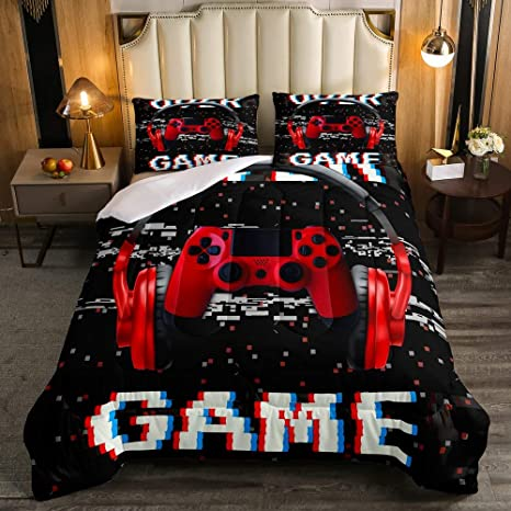 Video Game Bedding Set Player Gaming Joystick Duvet Insert for Bedroom Modern Gamer Down Comforter Queen Size for Kids Boys Children Youth Erosebridal Teens Gamepad Comforter Set Black Blue