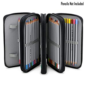 BTSKY® Handy Wareable Oxford Colored Pencil Bags Large 72 Slots Pencil Organizer Portable Watercolor Pencil Wrap Case (Black)