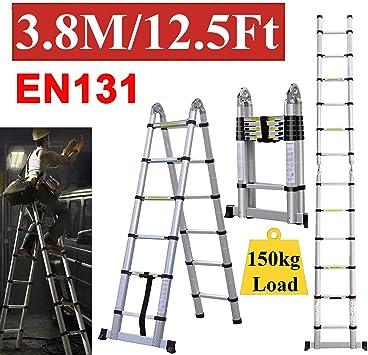 Escalera telescópica de aluminio portátil plegable de 12 peldaños, para construir escaleras multiusos, compactas, para el hogar, garaje, escalera de 150 kg de carga: Amazon.es: Bricolaje y herramientas