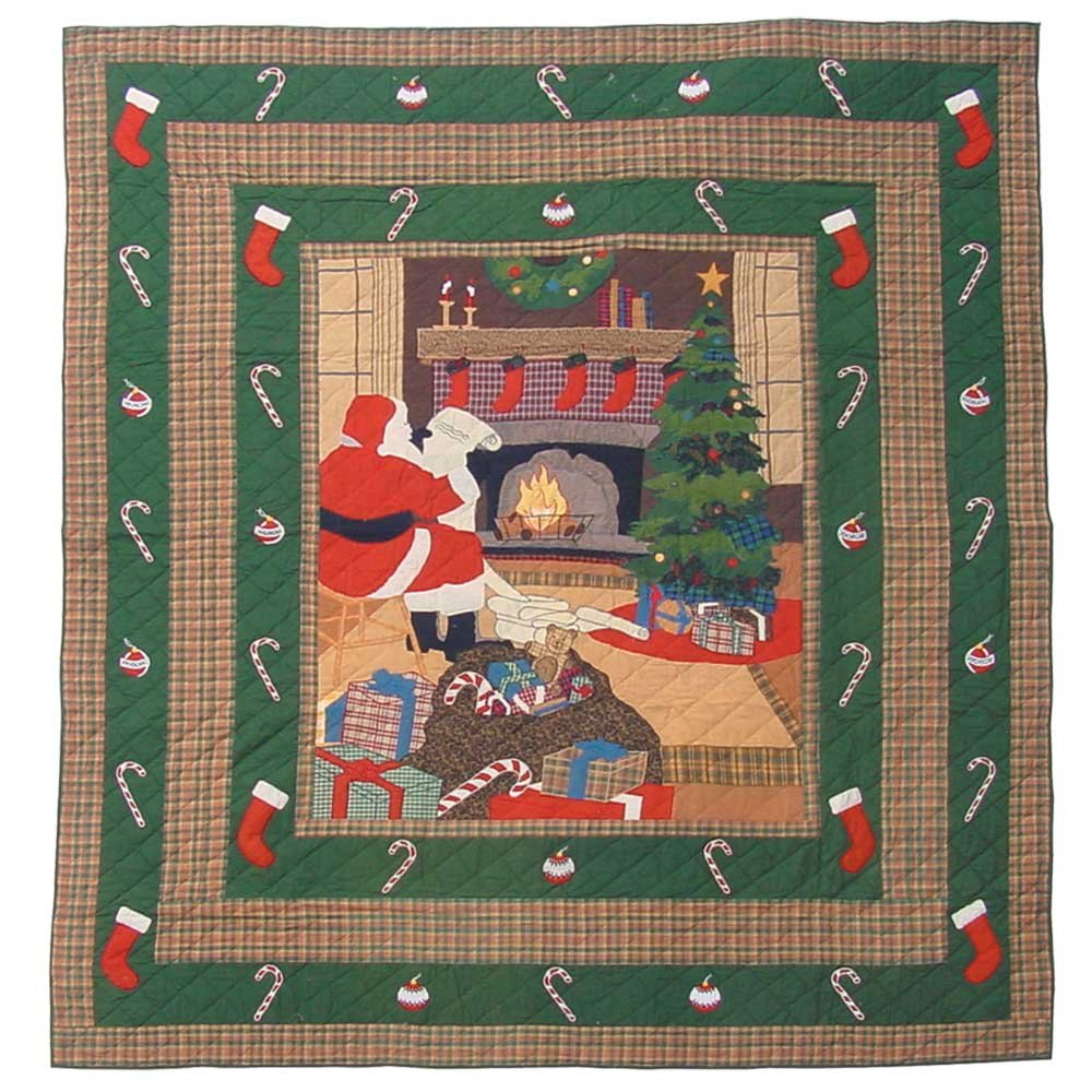 Patch Magic King Santa By The Fireside Quilt, 105-Inch by 95-Inch