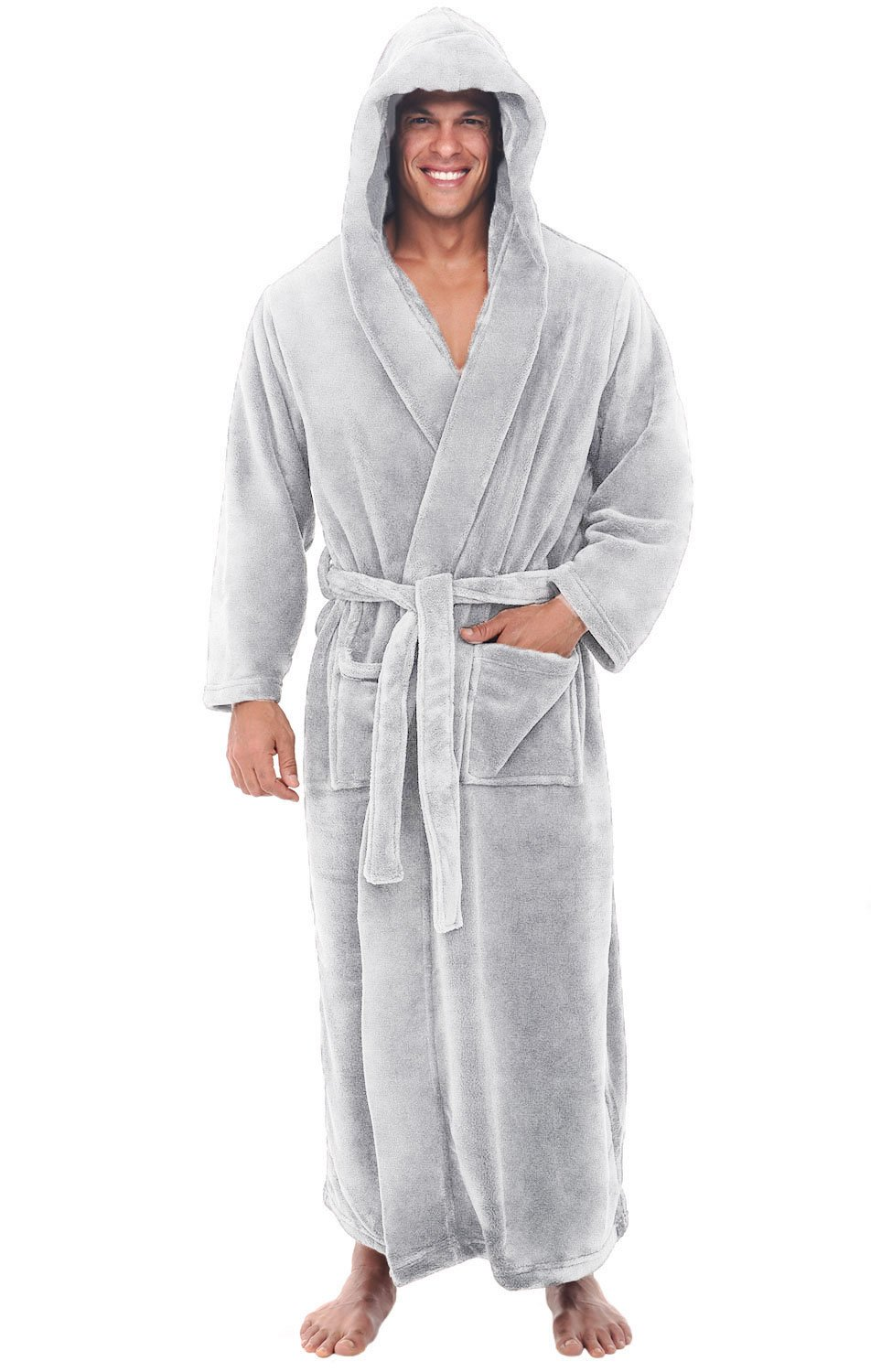 Alexander Del Rossa Mens Fleece Robe, Long Hooded Bathrobe, Small Medium Light Grey (A0125LGRMD)