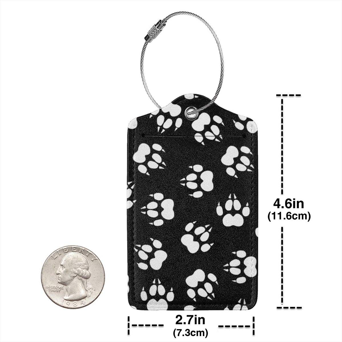 Wolf Paw Prints Leather Luggage Tags Baggage Bag Instrument Tag Travel Labels Accessories with Privacy Cover