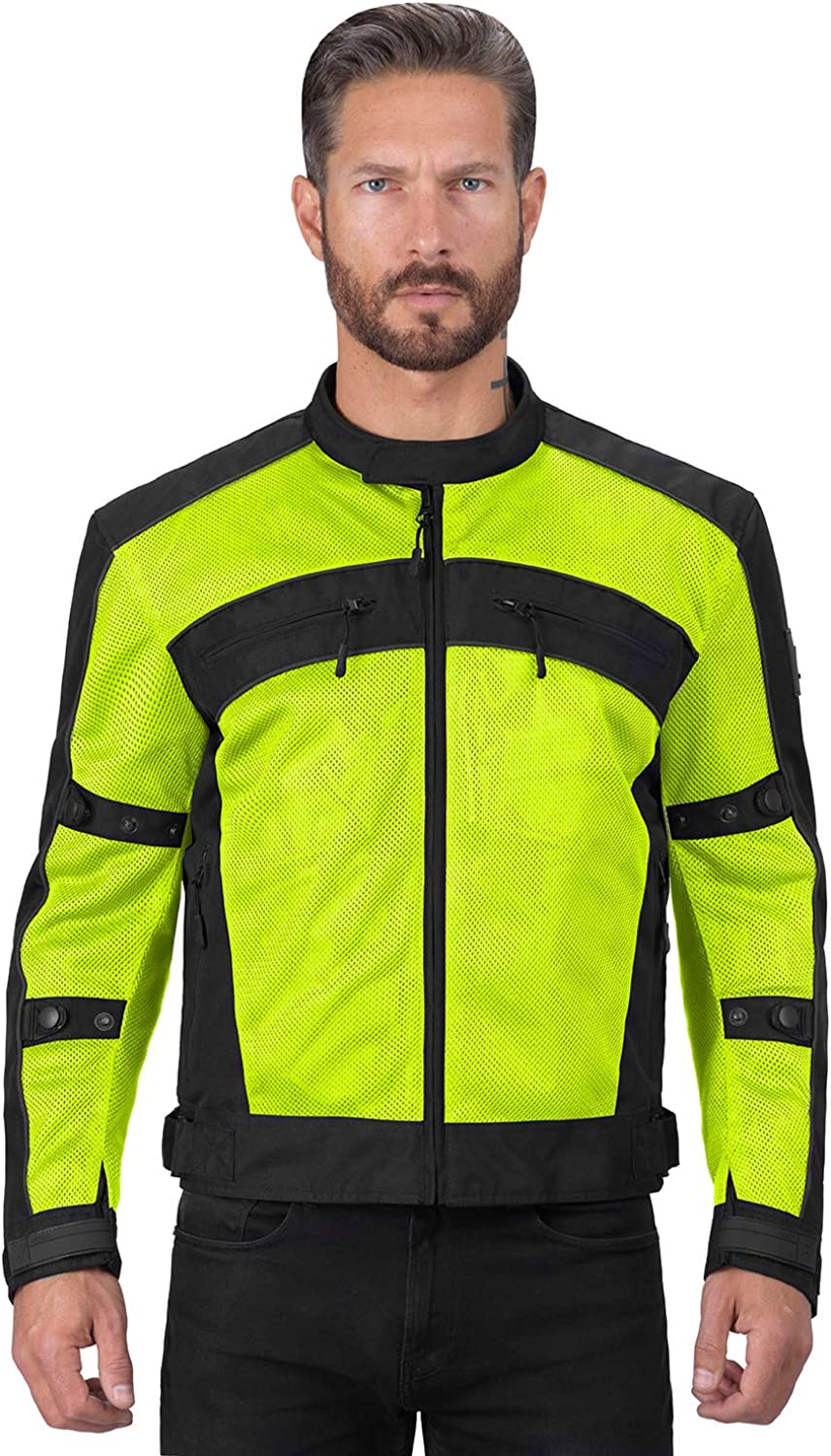 Viking Cycle Ironside Textile Mesh Motorcycle Jacket for Men - Adjustable, CE Approved Breathable Armor for Bikers