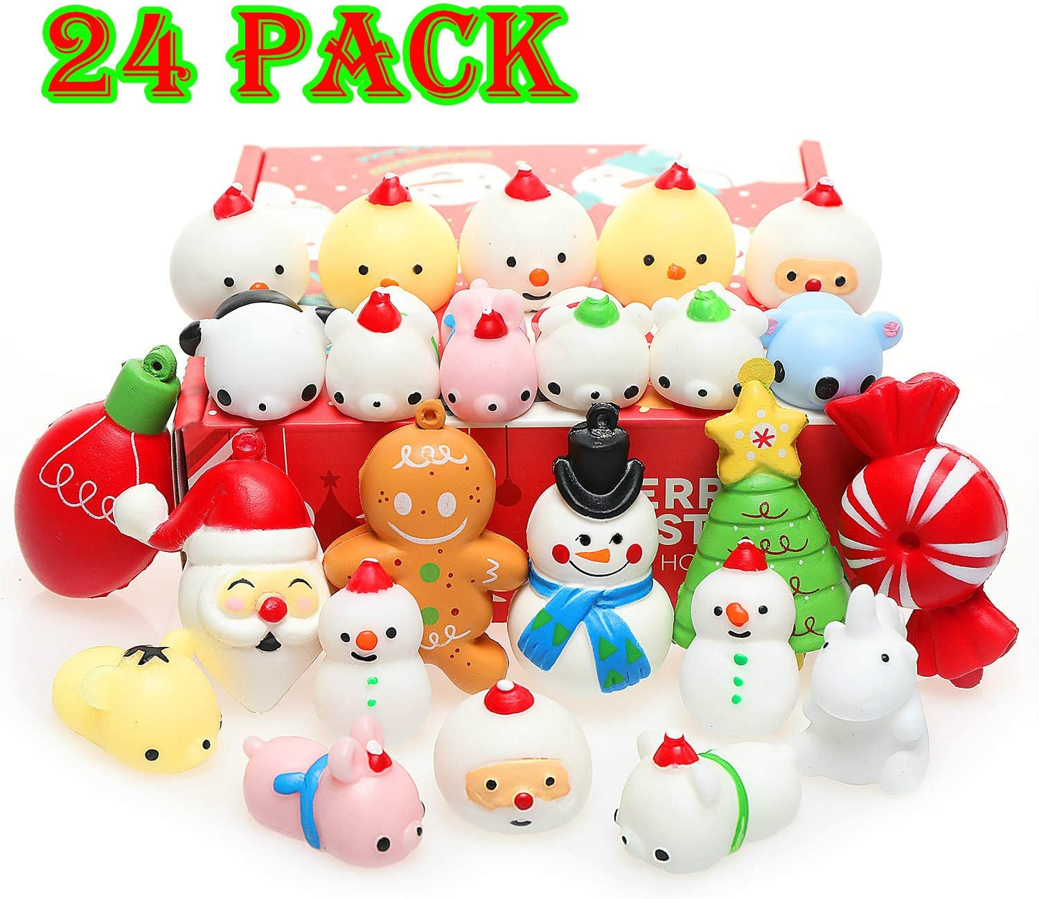 Nobasco Squishies, Mochi Squishy Toys - Christmas Kawaii Cat Squishys Slow Rising Animals - Party Favors, Goodie Bag, Birthday Gifts, Mini Squishies Stress Reliever Toy Pack