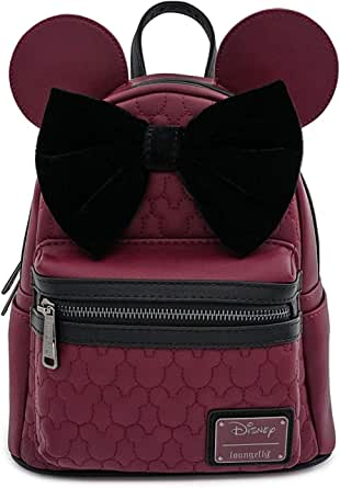 Loungefly Minnie Mouse Maroon Quilted Mini Backpack