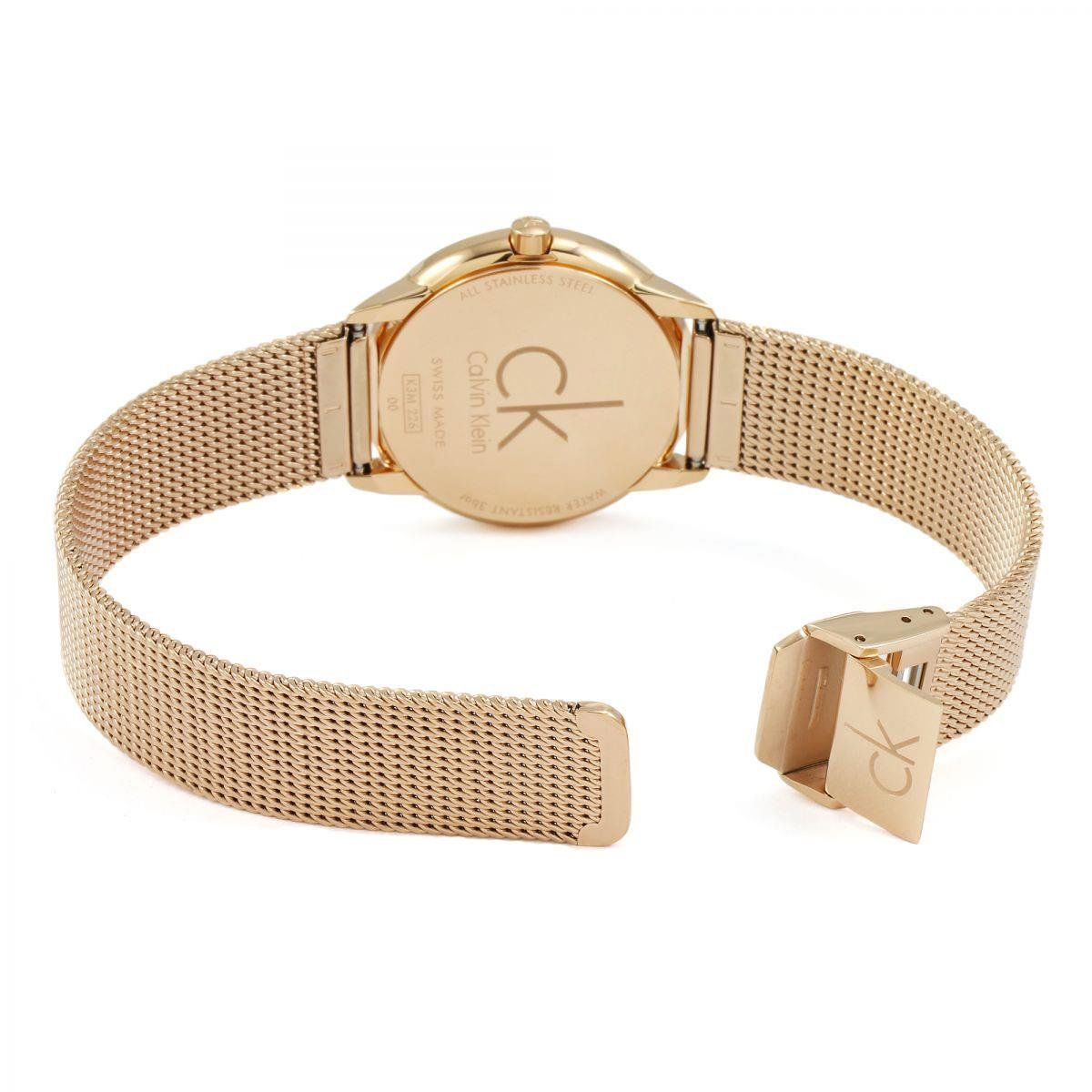 Amazon.com: Calvin Klein K3M22626 Ladies Minimal Rose Gold Plated Mesh Bracelet Watch: Watches