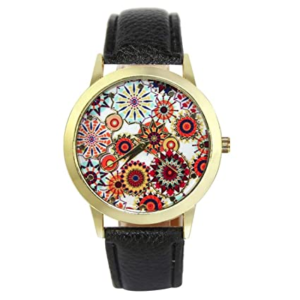 Fashion Chrysanthemum Pattern Leather Analog Quartz Vogue Watches reloj Mujer Ladies Watches Relogio Feminino Vintage(