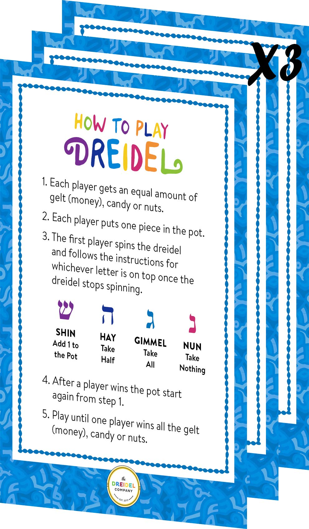 Wood Dreidel 30 Solid Blue & White Wooden Hanukkah Dreidels Hand Painted With English Transliteration - Includes x3 Game Instruction Cards! (30-Pack) by The Dreidel Company (Image #4)