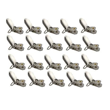 Metal tirantes Clips con inserciones de redonda, Gran Los chupetes para tirantes, Clips babero o juguete soporte