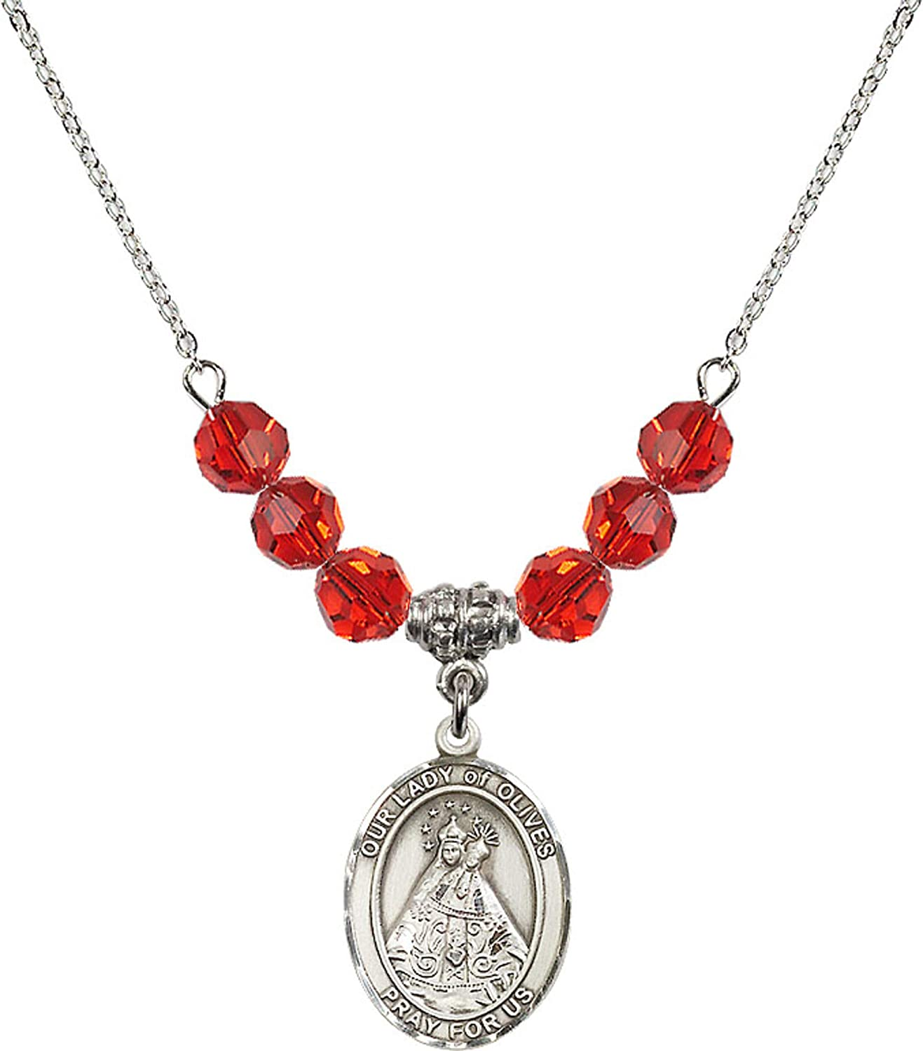 Bonyak Jewelry 18 Inch Rhodium Plated Necklace w// 6mm Red July Birth Month Stone Beads and Our Lady of Olives Charm