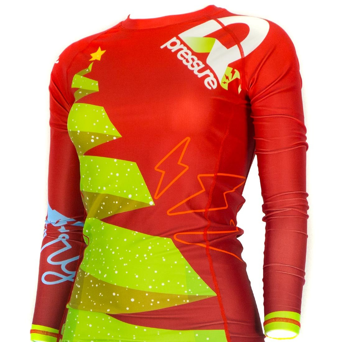 Pressure Grappling Women's Premium BJJ Long Sleeve Rash Guard with Lockdown Band (Wonderland, Extra Small) by Pressure Grappling