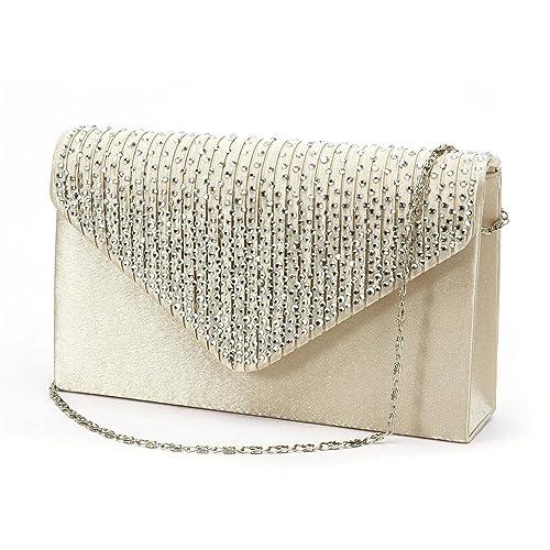 a3f8cdc40b0 Nodykka Women Evening Envelope Rhinestone Frosted Handbag Party Bridal  Clutch Purse Shoulder Cross Body Bag