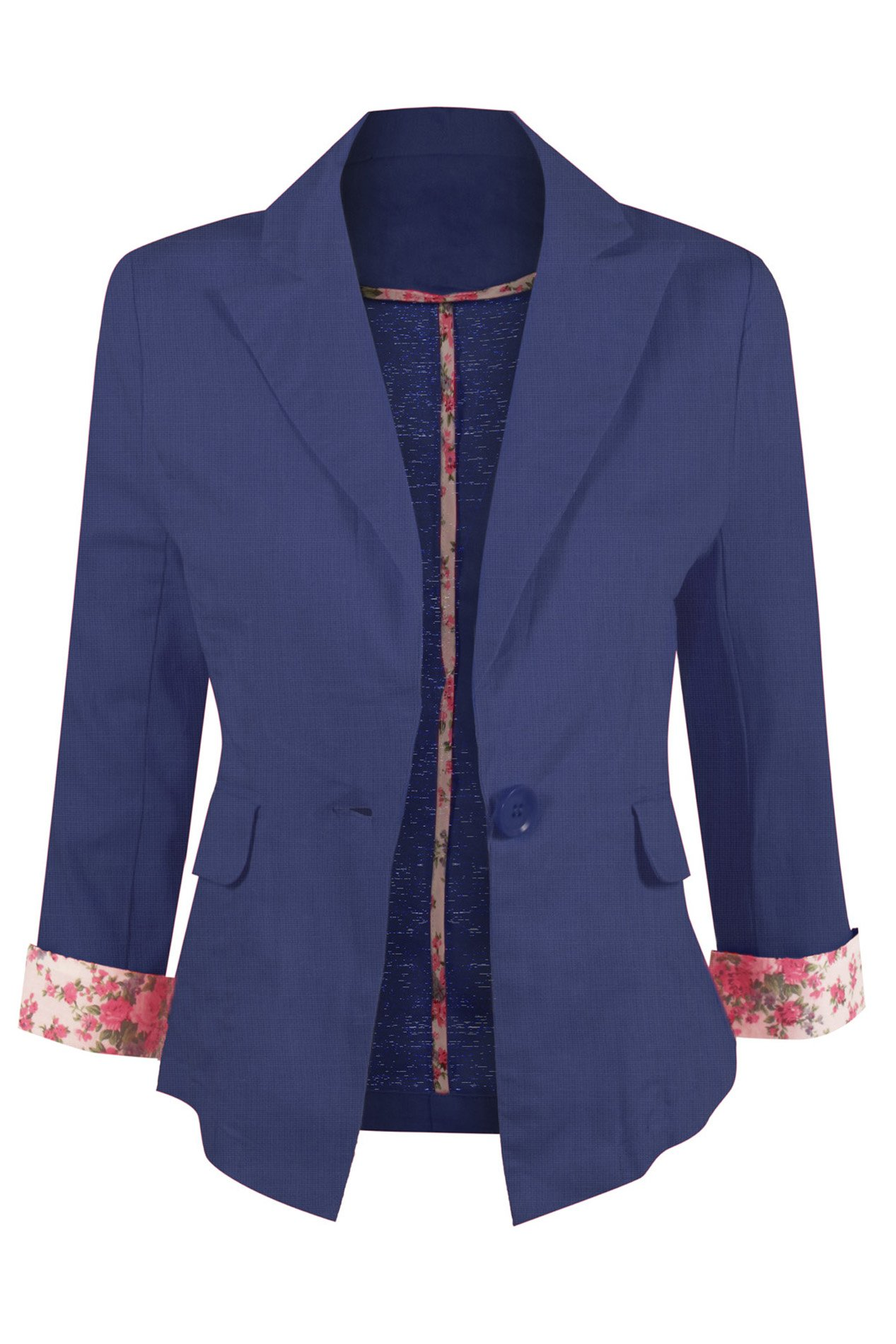 HOT FROM HOLLYWOOD Contemporary Ultra Lightweight Linen Blend Blazer with Floral Print 3/4 Sleeves