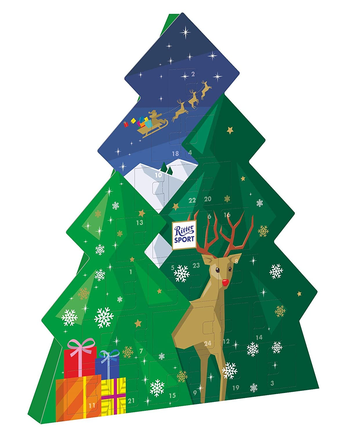 Amazon.com : Ritter Sport Advent Calendar Christmas Tree 208g ...