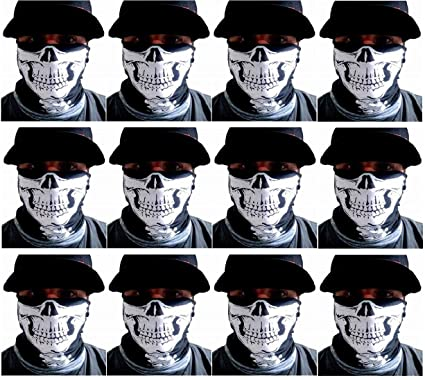 One Dozen-12 pieces -Skull Half Face Shield Tubular Bandana Mask With  Skeleton Vertebrae 0816707b309