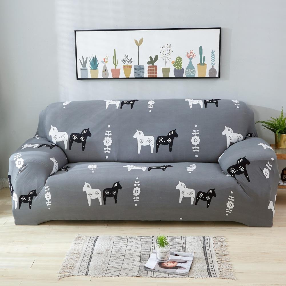 Matefield Elastic Sofa Tight Wrap Animal All-inclusive Slipcovers Cover(Horse/2-Seat) by Matefield (Image #2)