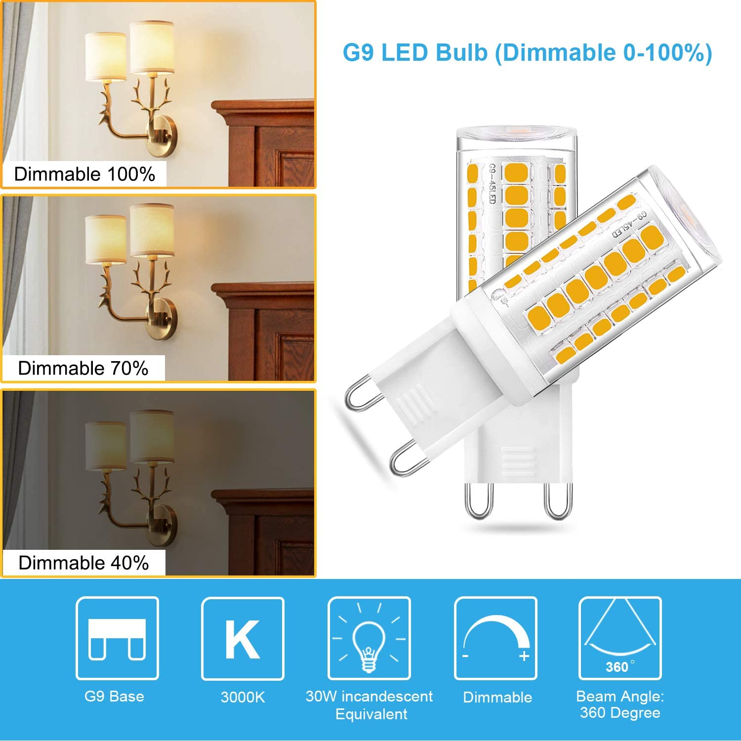 2-Pack G9 3W LED Bulb Dimmable 30W 35W 40W Halogen Bulb Replacement Warm White 3000K AC120V G9 Bi Pin Base Light for Home Lighting