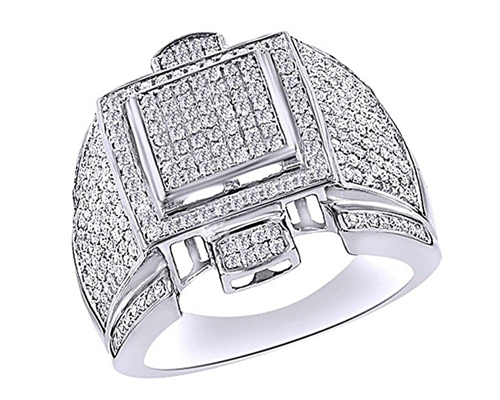 Wishrocks Round Cut White Cubic Zirconia Mens Hip Hop Band Ring in 14K Gold Over Sterling Silver