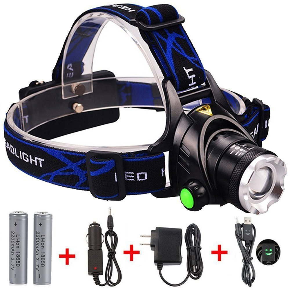 Headlamp, Zoomable 3 Modes Super Bright LED Headlamp with Rechargeable Batteries, Car Charger, Wall Charger and USB Cable (black)